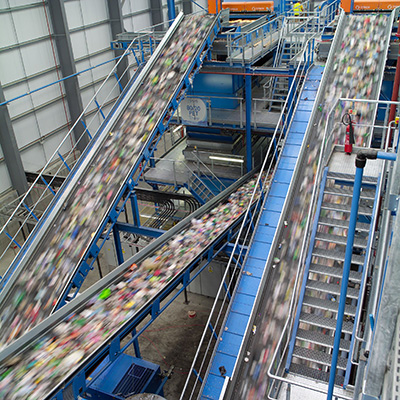 Image: Conveyor Belts in Use at Recycling Plant